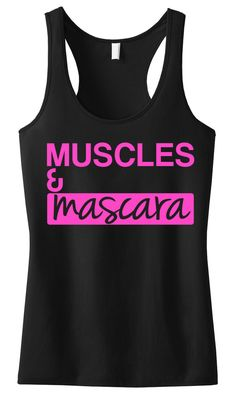 MUSCLES & MASCARA #Workout #Tank Black with Pink -- By #NobullWomanApparel, ON SALE for only $23.74! Click here to buy http://nobullwoman-apparel.com/collections/fitness-tanks-workout-shirts/products/muscles-mascara-workout-tank