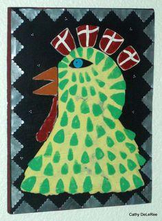 Chicken Crusader  Folk Art Outsider   Original by CathyDeLeRee, $50.00