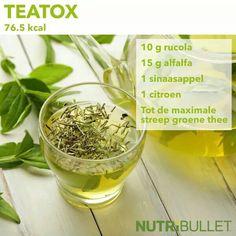 Teatox  Reinig jezelf met deze ontgiftende Theatox. Na deze smoothie zul je je als nieuw voelen! Alfalfa staat bekend om gewichtsverlies te stimuleren door het weinige suiker en calorieën. Sinaasappels hebben een laag vetgehalte en voegen een heerlijke smaak aan deze blast boordevol vitamine C!