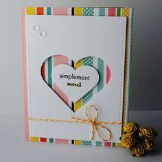 """Carte de remerciement """"simplement merci"""" coeur blanc fond multicolore"""