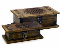 Set of 2 Antiqued Celtic Boxes
