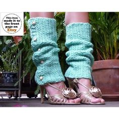 Button Leg Warmers Mint Crochet Lots of Colors (£59) ❤ liked on Polyvore featuring black, hosiery, leg warmers and women's clothing
