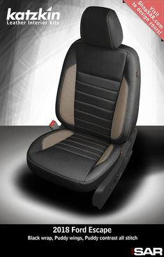 - This is a 2018 Ford Escape seat with Black wrap, Puddy wings, Puddy contrast all stitch. Car Seat Upholstery, Automotive Upholstery, Autos Ford, Custom Car Seats, American Racing Wheels, Leather Seat Covers, Car Seat Cover Sets, Argo, Toyota 4runner