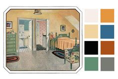"6 Color Palettes Based on Early 1900s Vintage Bedrooms  ""Here is a neat trick for creating a baseline color palette: use save-for-web in any image editing program and distill a piece of art or favorite photo into a basic set of colors. Along similar lines, one can also use drawings of rooms from the 1910s through the 1940s for inspiration."" See link for rest."