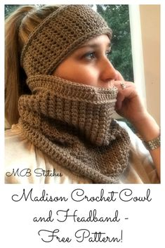 Crochet Cowl and Headband set - Free Pattern!  #crochet #crocheting #fashion