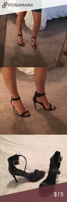Candies black strap heel size 7.5 Candies black strap heels, size 7.5 only worn once! Candie's Shoes Heels