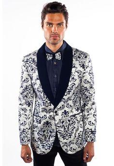 Men's black shawl lapel flashy shiny sequin blazer for men.