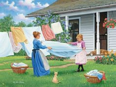 One, Two, Three by John Sloane ~ summer ~ country home ~ mother & daughter folding laundry