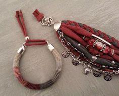Boho Gypsy Bracelet Burgundy Bohemian Bracelet Multiple
