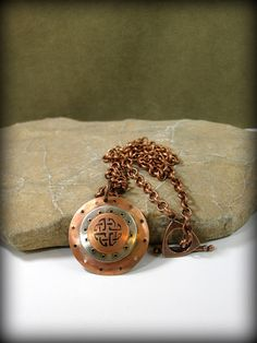 Mens Necklace - Metalsmith Necklace - Copper Necklace - Viking Shield Pendant - Womens Necklace - Mixed Metal Jewelry - Celtic Necklace