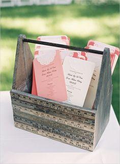 pink and white wedding programs with doilies #diy #weddingceremony #weddingchicks http://www.weddingchicks.com/2014/03/20/elegant-wedding-at-the-legare-house/