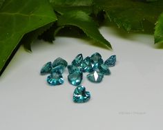 5mm Heart Genuine Teal Topaz Faceted Gemstones VVS .55cts