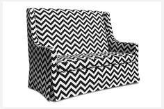 This chevron kids sofa definitely makes a big style statement despite its small size.