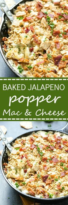 Baked Jalapeno Popper Mac and Cheese - An incredibly easy homemade baked mac and cheese! If you love jalapeno poppers I bet you can't resist this! So creamy and baked to perfection. Don't forget to add the bacon!