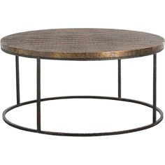 Auron Bazaar Scored Brass Antique Iron Coffee Table (6.570 BRL) ❤ liked on Polyvore featuring home, furniture, tables, accent tables, iron accent table, ebony table, black iron table, black table and brass tables