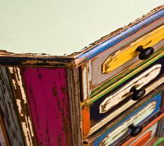 The Art Of Up-Cycling: distressed colorful multi color hand painted  side table
