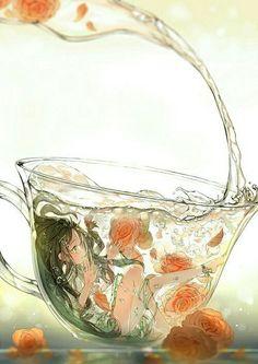 cup, dress, and anime art image - Gekiga Manga Anime Art, Animation Art, Cute Art, Anime Scenery, Flower Drawing, Cute Drawings, Pretty Art, Anime Drawings, Aesthetic Art