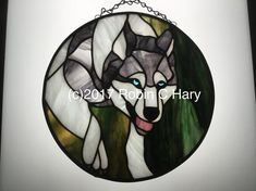 Wolf 10 inch Stained Glass Circle Panel Original and Exclusive Design Handmade Glass dog White Wolf, Dog Memorial, To Color, Pattern Books, How To Take Photos, All Design, Wind Chimes, Robin, Stained Glass