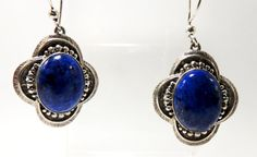 Sterling Silver Lapis Cabochon Earrings by HeirloomSilver on Etsy, $32.00