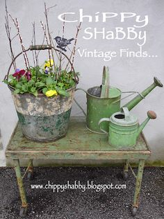 ChiPPy! - SHaBBy!: Time-Worn PaTiNa... ViNtaGE GaRden BuCKeT... Watering Cans with Old Apple-Green Paint...
