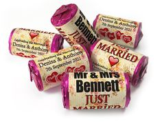 Wedding Favours - Love Heart Sweets with Colour Foil choices - Wedding Favours Love Hearts, Wedding Favour Sweets, Vintage Wedding Favors, Personalised Love Hearts, Personalized Gifts, Mint Sweets, Love Heart Sweets, Just Married, Vintage Love