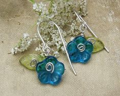Teal Glass Flower Earrings  Dangle Earrings by nicholasandfelice