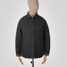 Grey wool-tweed reversible jacket.