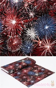 """black quilting cotton fabric with fireworks in USA flag colors, red, white, blue, Material: 100% cotton, Fabric Type: smooth cotton fabric, Pattern Repeat: ca. 30cm (11.8"""") #Cotton #Stars #OuterSpace #Retro #USAFabrics Retro Fabric, Flag Colors, Usa Flag, Fabric Patterns, Fireworks, Red And White, Cotton Fabric, Kawaii"""