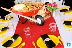 Wheelbarrow Centerpiece Farm Themed B-day Party
