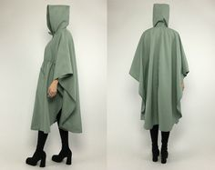Vintage 70s Pastel Mint Hooded Rain Coat Trench by psychopompvtg