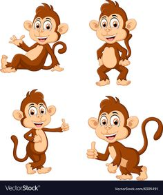 Monkey many expressions vector image on VectorStock Girl Holding Balloons, Cartoon Monkey, Cute Little Kittens, Baby Elephant, Pretty Pictures, Vector Free, Disney Characters, Monkeys, Adobe Illustrator