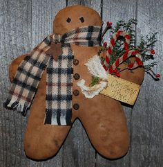 Gingerbread Man Wall Hanging EPATTERN by OldeAnniePrimitives, $4.75