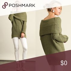 Fold Over Ribbed Sweater Olive in color. Cotton Blend. Sweaters