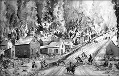 This image depicts the scene of William Quantrill's raid in 1863. Historian David Kennedy, of Beebe, Ark., says after 15 years of research he can prove Quantrill staged his own death, went on to raise Cain with the notorious bank robbers Frank and Jesse James, and later married and settled down in Arkansas.