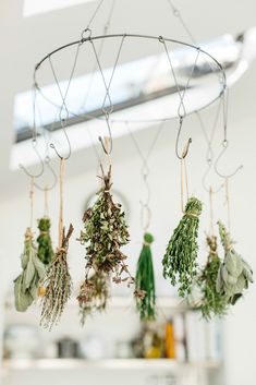 Hang drying herbs from the garden www.thishouseourhome.com