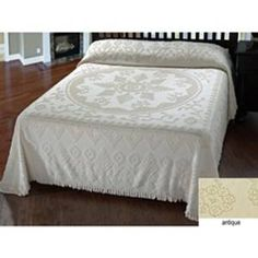 Old fashioned chenille bedspread in ivory from Ross