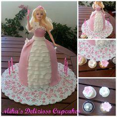 Barbie cake and mini cupcakes!!!!!!!!!