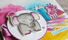 Babykarte mit dem Stampin' Up! Set Tierische Glückwünsche und Aquarelltechnik.