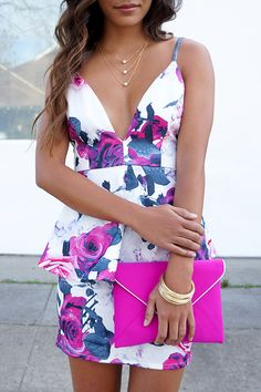 More Flower to Ya Fuchsia Floral Print Dress