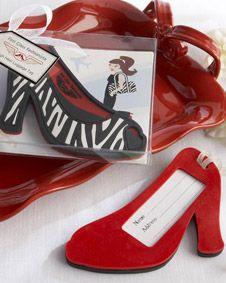 First Class Fashionista High Heel Luggage Tag. http://www.bluerainbowdesign.com/WeddingFavorProduct.aspx?ProductID=PR012610170009JeNRwSXimenaBRD23305