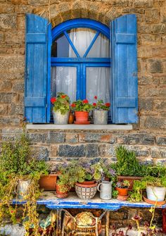 "abriendo-puertas: "" A cretan Window. By Jonathan Parkes "" Blue Shutters, Window Shutters, Window Boxes, Fachada Colonial, Window View, Through The Window, Doorway, Belle Photo, Architecture"
