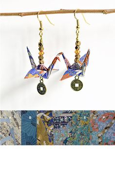 Blue Custom Paper Earrings OnlineOrigami by LittleBirdDePapel
