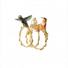 FRESHWATER PEARLS AND HUMMINGBIRDS RING