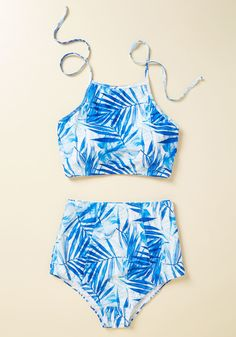 by Heat Move Women Retro Flounce High Waisted Bikini Halter Neck Two Piece Swimsuit The Sissone High-Waisted Bikini Bottom in Blue Stripe Bathing Suits For Teens, Summer Bathing Suits, Swimsuits For Teens, Modest Swimsuits, Cute Bathing Suits, Women Swimsuits, Pretty Swimsuits, 2 Piece Swimsuits, Men's Underwear