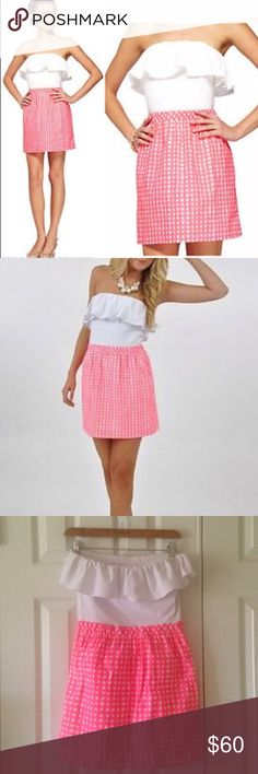 Lilly Pulitzer Strapless Gingham Dress size small Worn twice....excellent condition. Bright pink, 2 front pockets. Adorable and comfortable! Lilly Pulitzer Dresses Mini