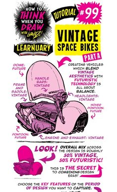 The Etherington Brothers: How to THINK when you draw VINTAGE SPACE BIKES tutorial #LEARNUARY day ONE!