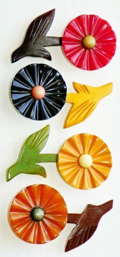 Vintage Bakelite Floral Pins