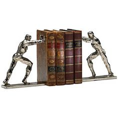 Let this pair of strong silver men hold your books in place.