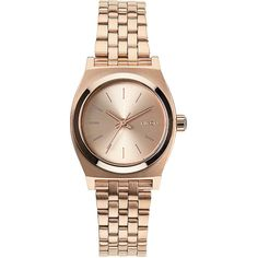 Nixon Small Time Teller Watch ($130) ❤ liked on Polyvore featuring jewelry, watches, all rose gold, analog wrist watch, rose watches, nixon wrist watch, analog watches and nixon