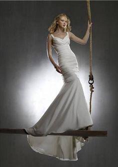 Mermaid V-neck Chapel Train Satin Tulle Bridal Dresses,$217.98